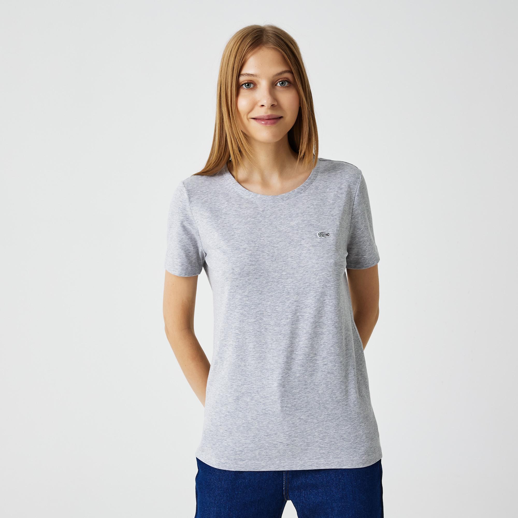 женская футболка lacoste, серая