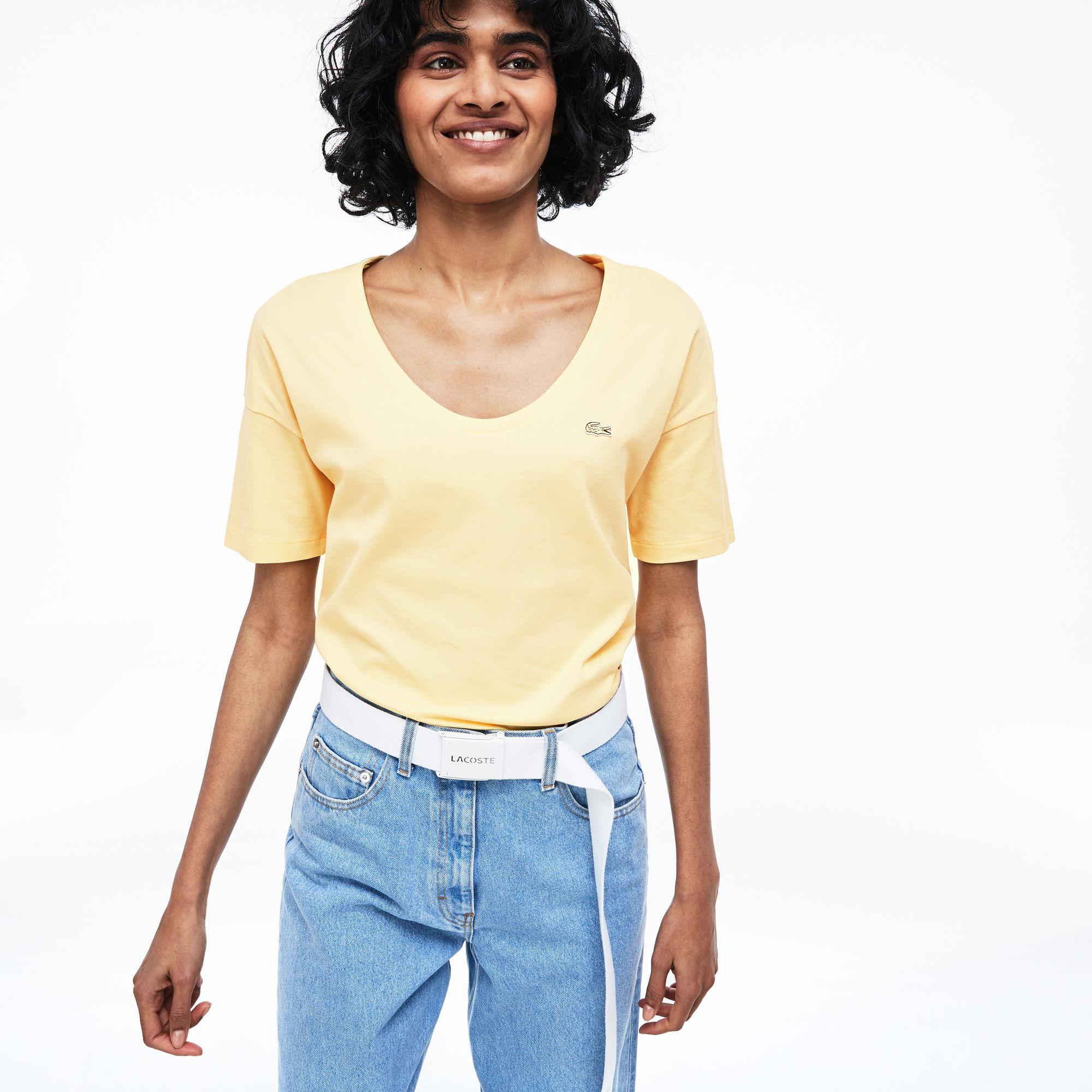 женская футболка lacoste, желтая