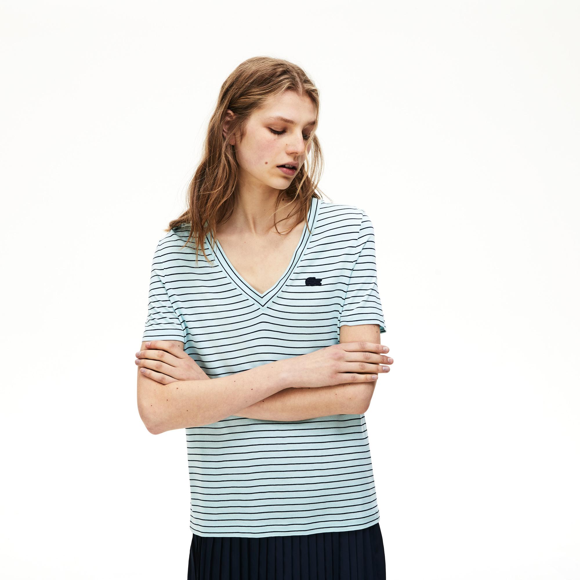 женская футболка lacoste, голубая
