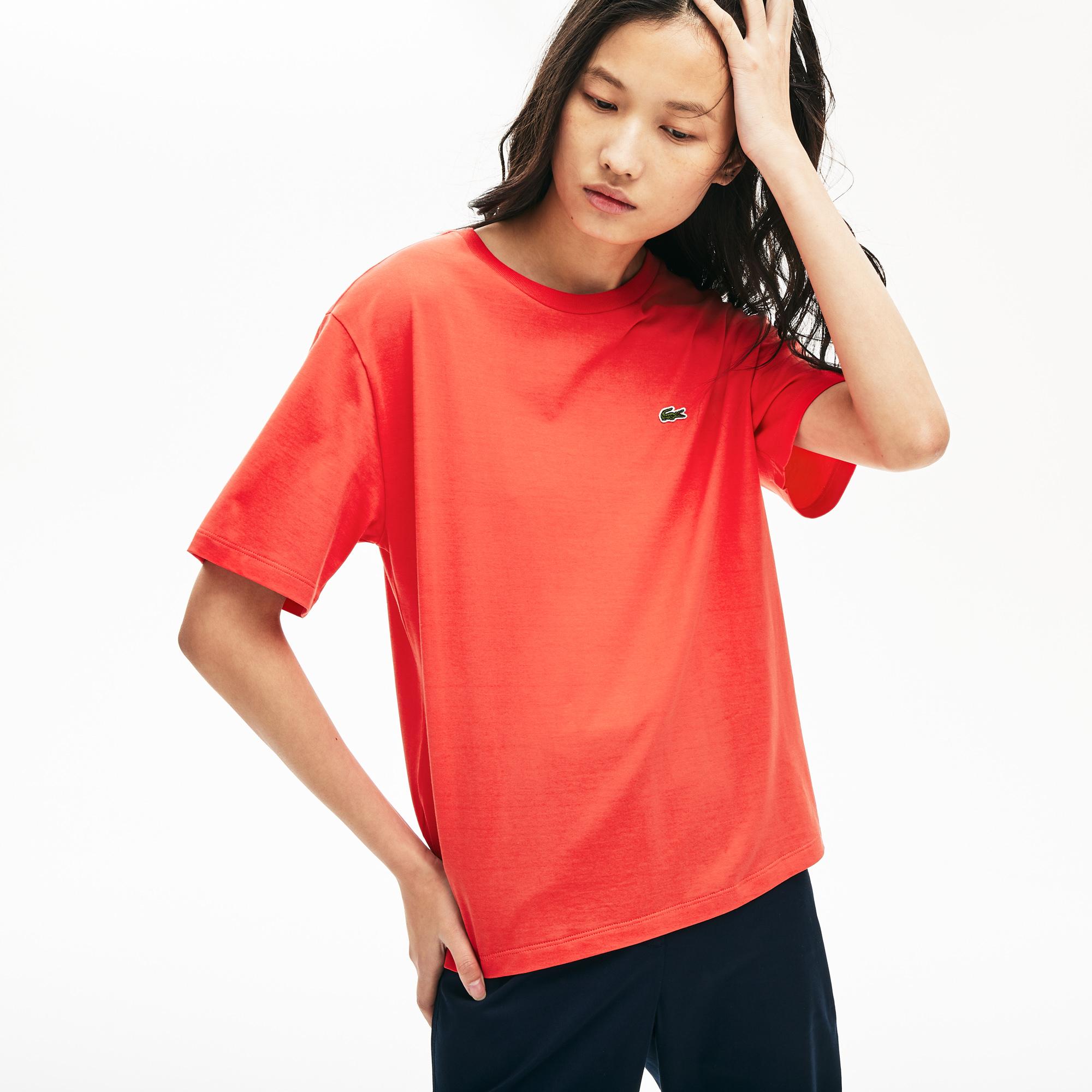 женская футболка lacoste, красная