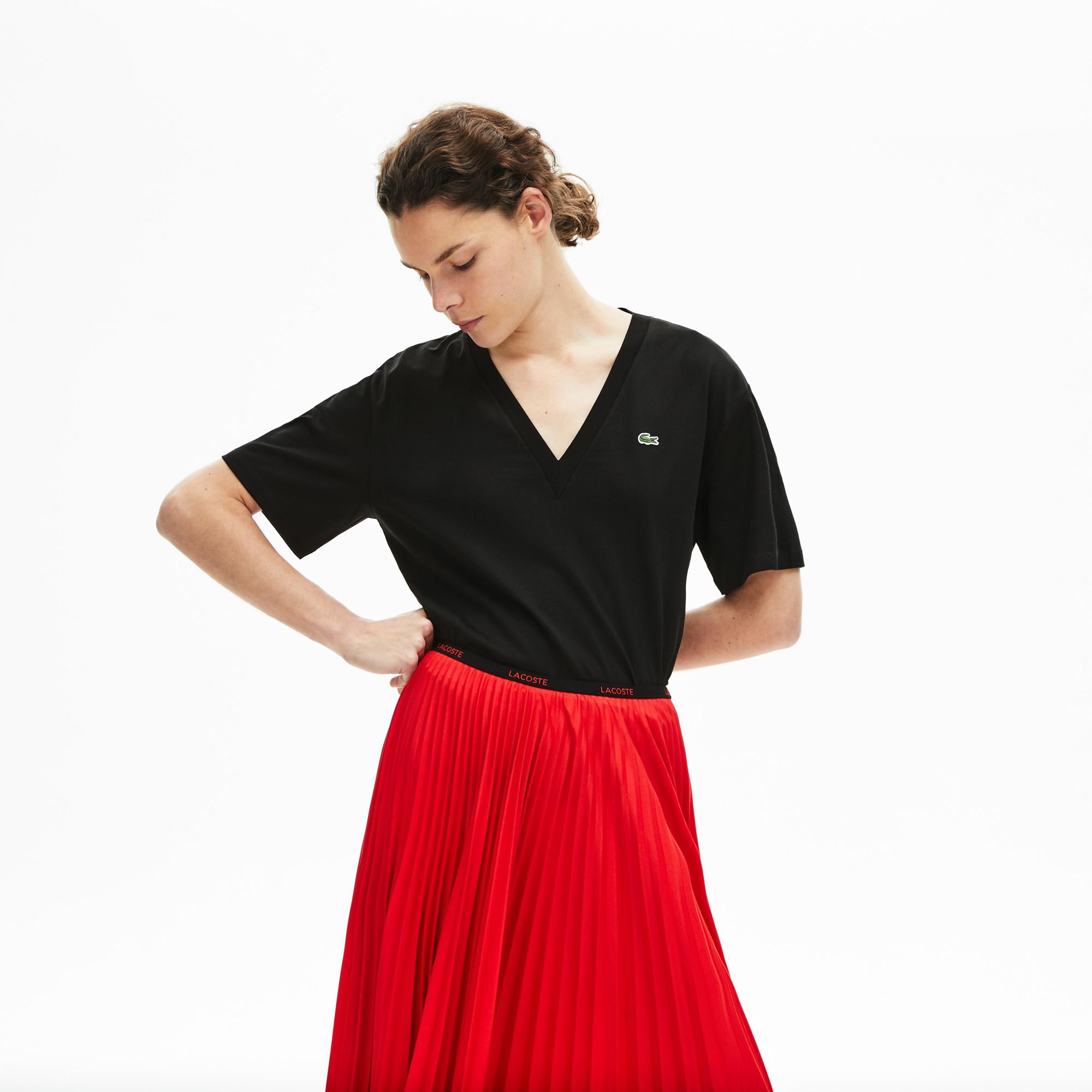 женская футболка lacoste, черная