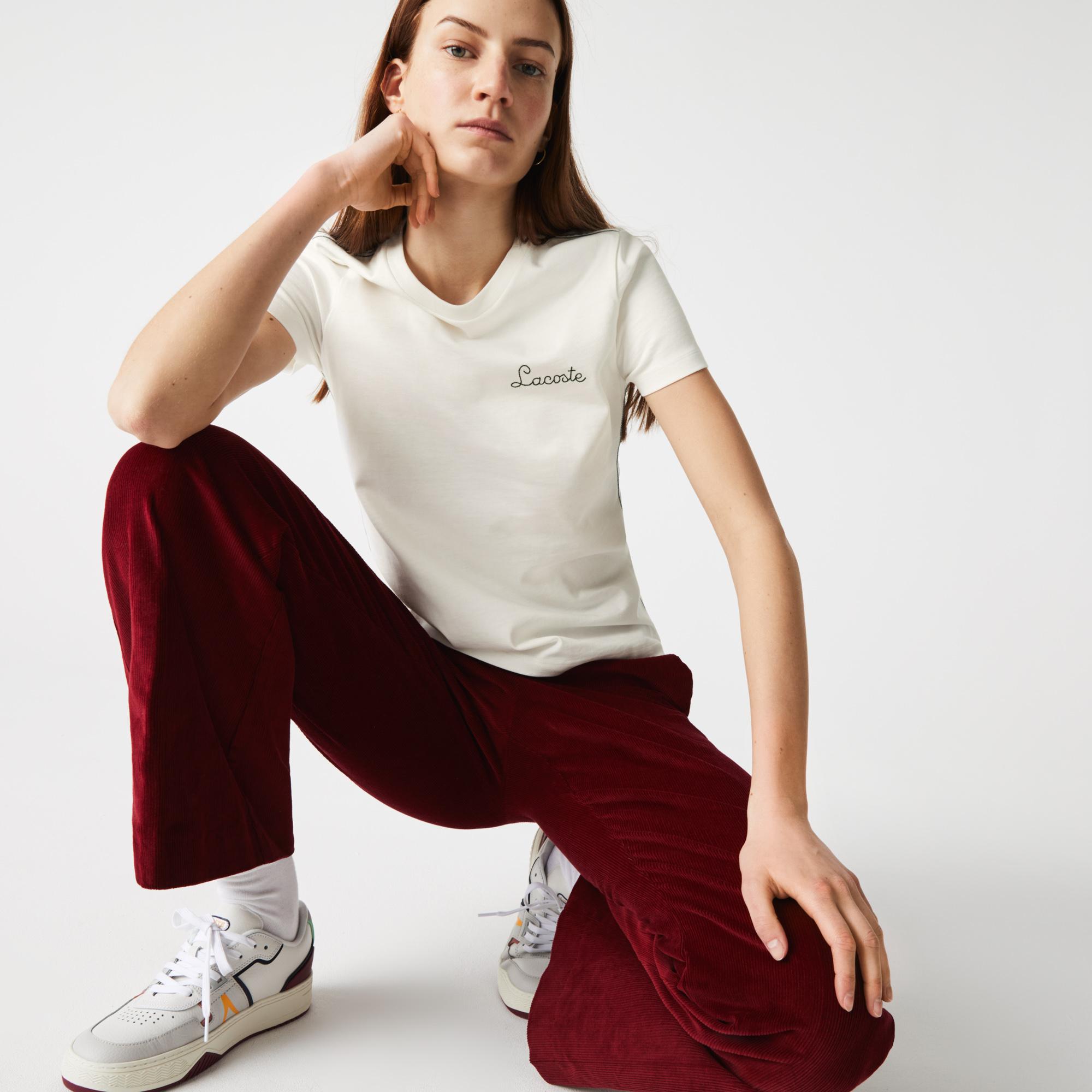 женская футболка lacoste, белая