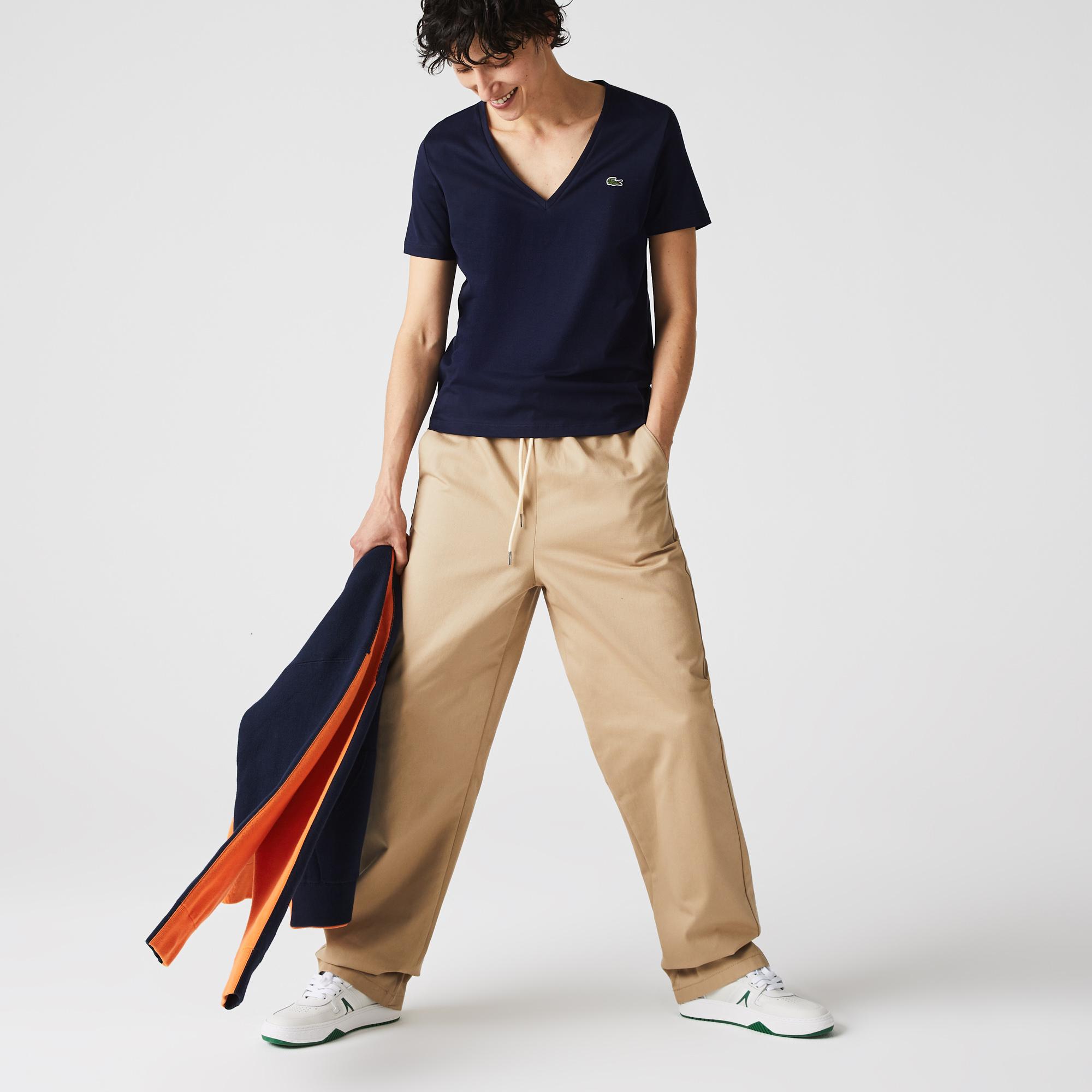 женская футболка lacoste, синяя